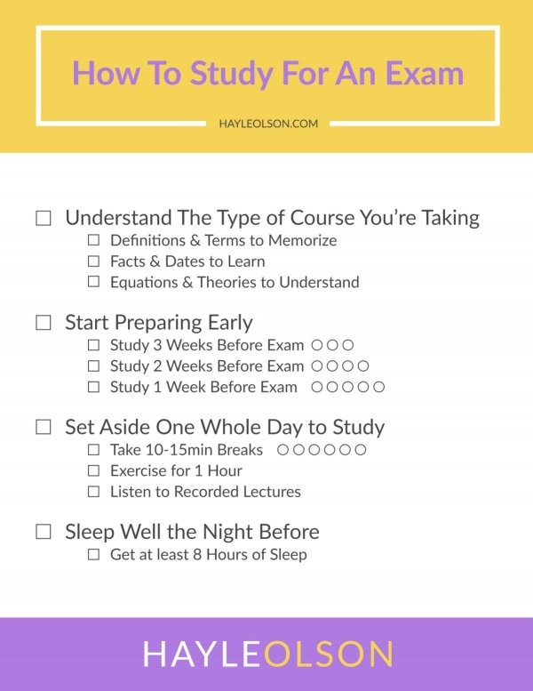 How to Study For An Exam | College Tips | hayle santella | www.haylesantella.com