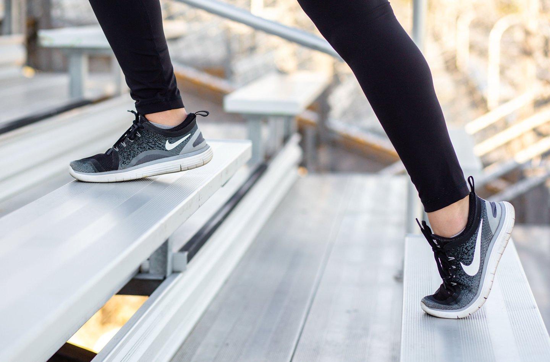 Hayle's feet running up football stadium stairs