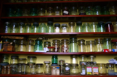 A fraction of a collection of colourful canning jars.
