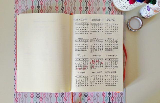 Bullet Journal Full Year Calendar