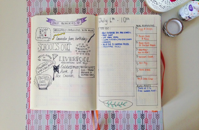 Bullet Journal July Memories
