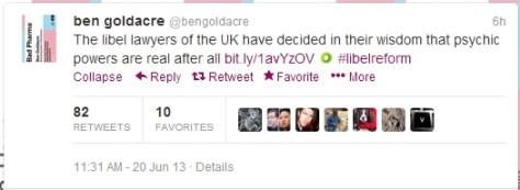 Ben Goldacre's Tweet