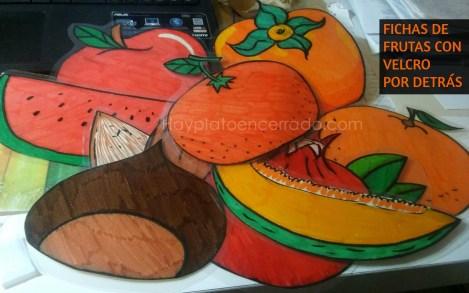 Fichas frutas arbol estacional hay plato encerrado