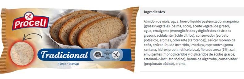 Pan tradicional sin gluten proceli ingredientes