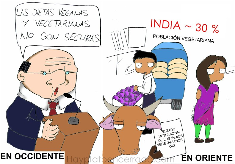 Viñeta Vegetarianos occidente vs oriente 2
