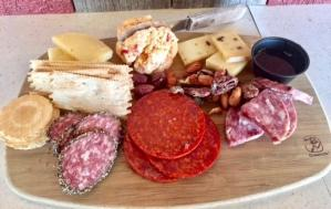Charcuterie and Cheese Board 3 cured meats, 3 cheeses w/ crackers and accompaniments