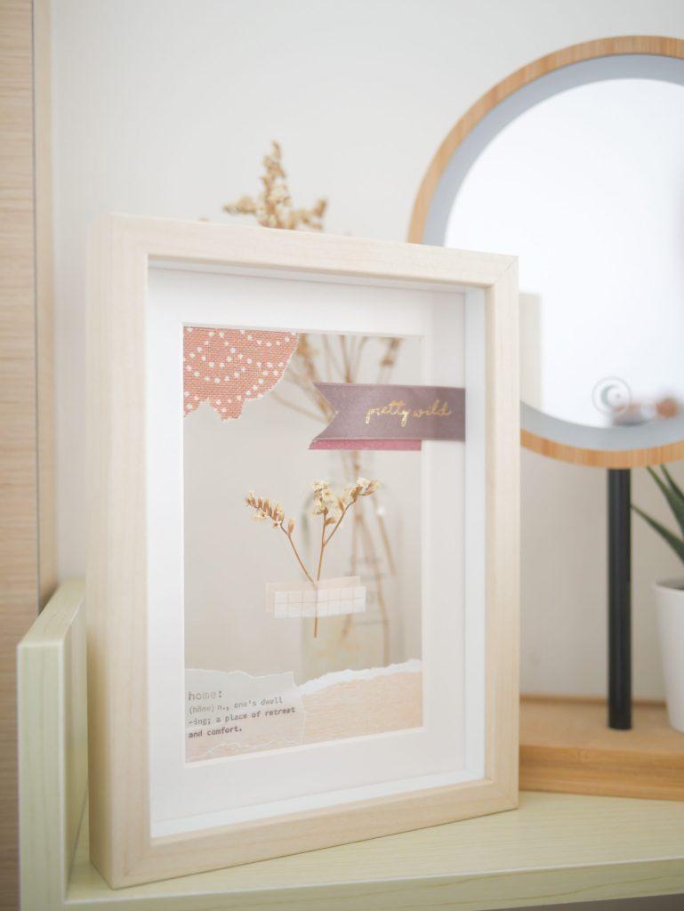 Framed dried flower collage art DIY