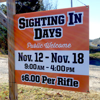 Hayward Rod & Gun - Sight In Days Sign