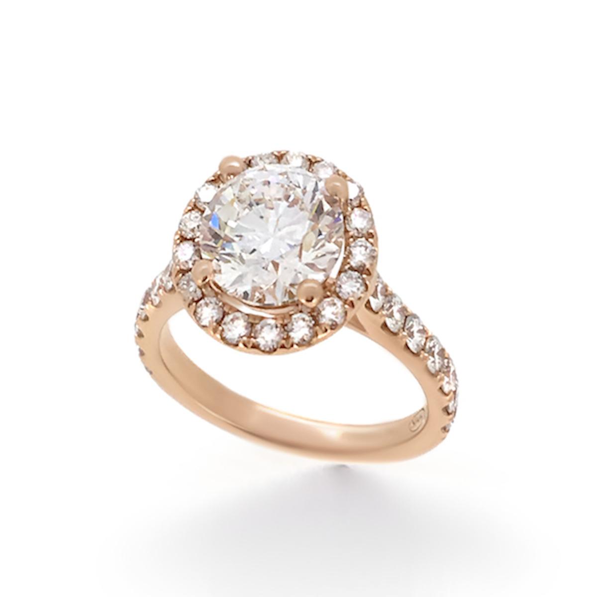 Rose Gold Halo Diamond Engagement Ring - Haywards of Hong Kong