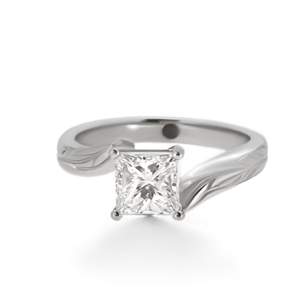 Modern Princess Cut Diamond Engagement Ring - Haywards of Hong Kong