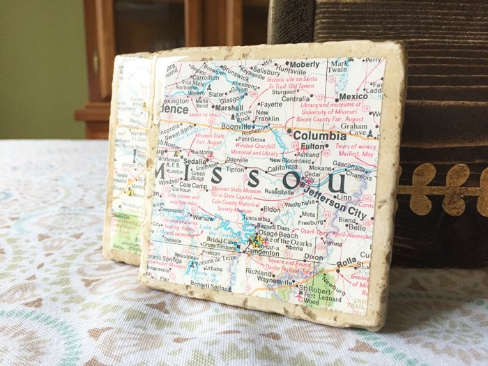 map tile coasters by hazel and gold designs