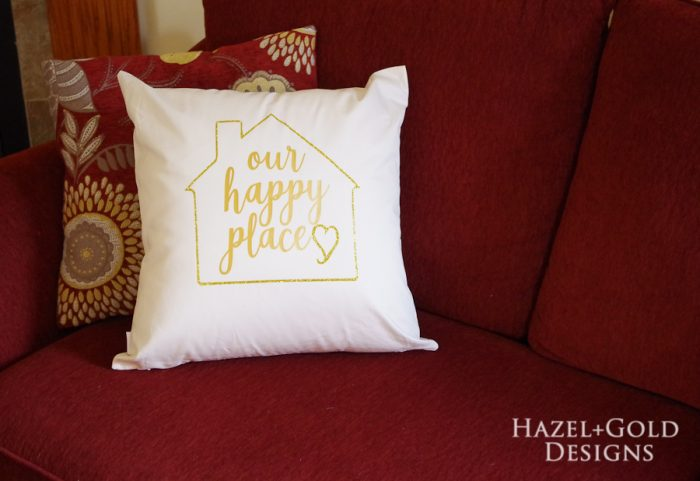 our happy place pillow using glitter htv