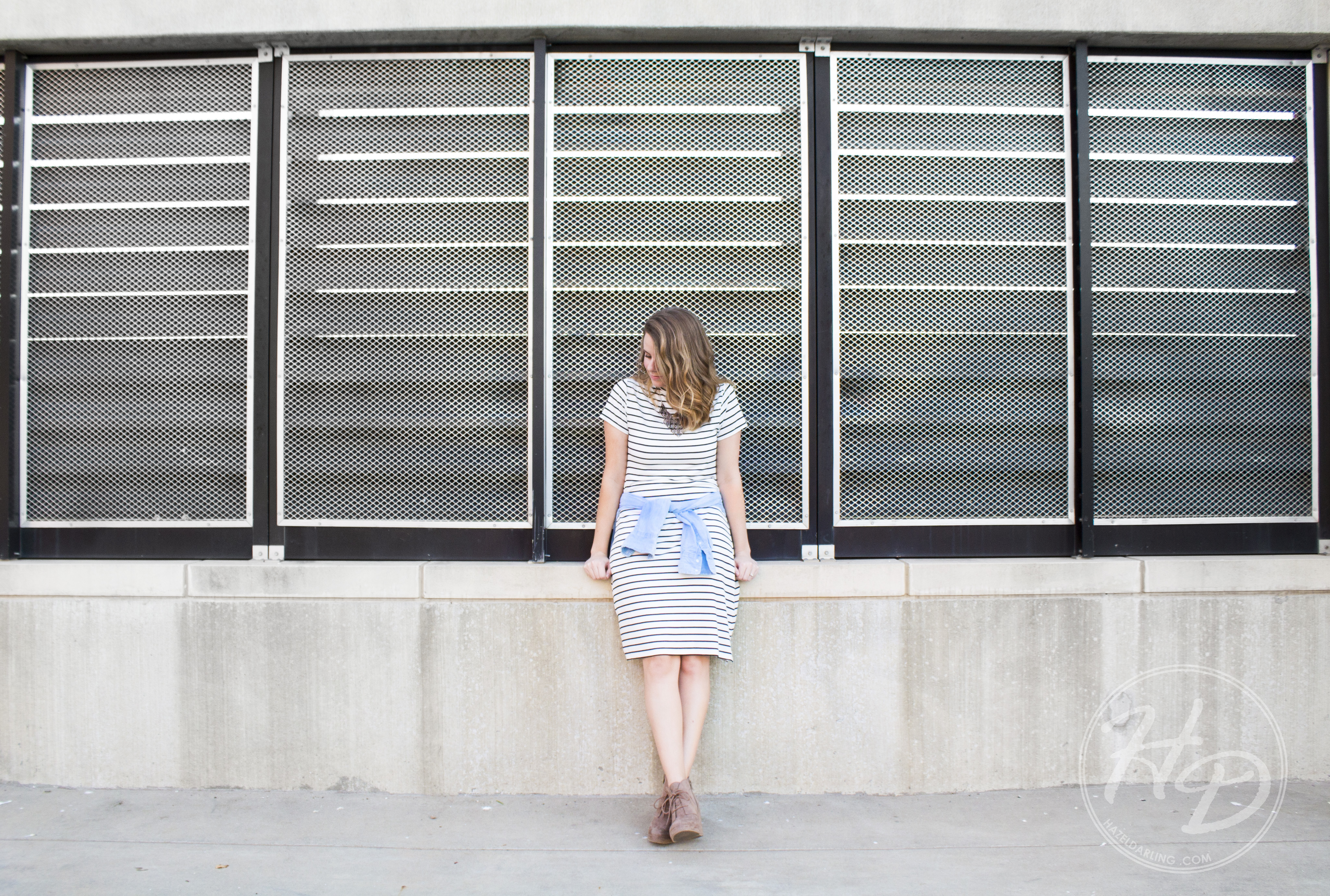 Striped T-shirt dress with a chambray shirt tied around the waist. Complete with a chunky necklack and some cute Target wedges.