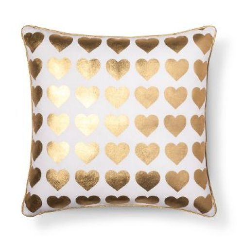 Gold Heart Throw Pillow