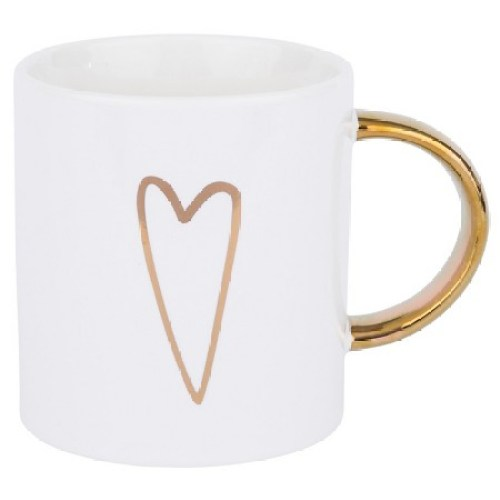 Golden Heart White Coffee Mug