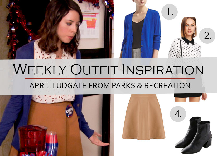 Weekly Outfit Inspiration: Camel Skirt & Polka Dots