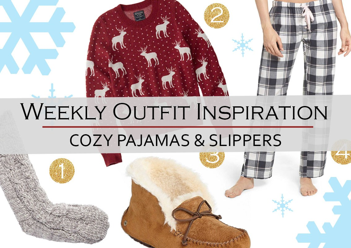 Weekly Outfit Inspiration: cozy pajamas & slippers