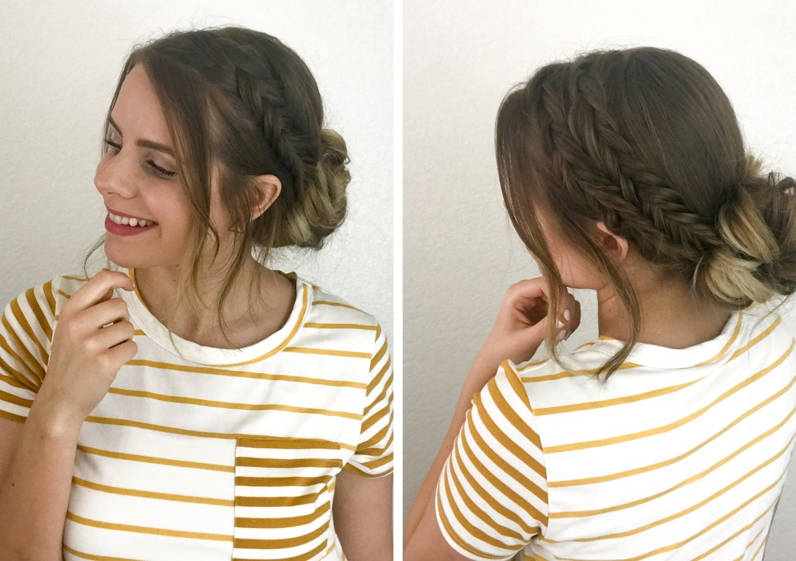 Low bun fishtail braid hairstyle for Easter!