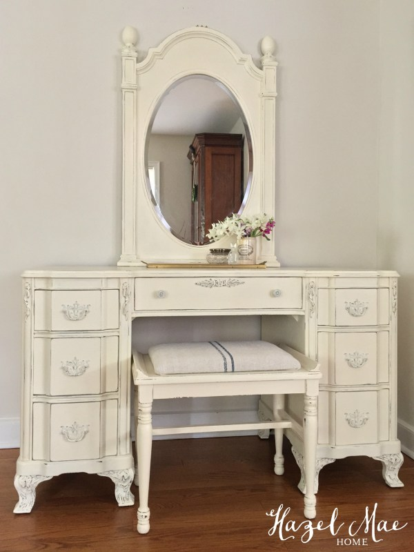 Dark Antique Desk Turned Light Feminine Vanity