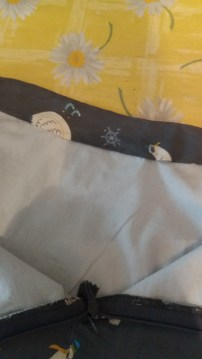 Hand sewn waistband from the inside