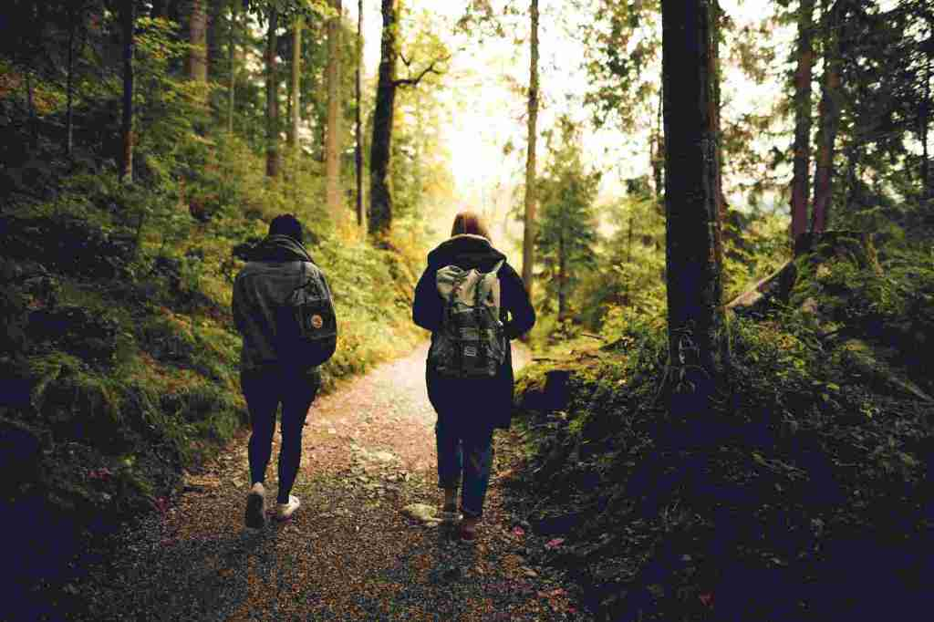 two people hiking together on a trail