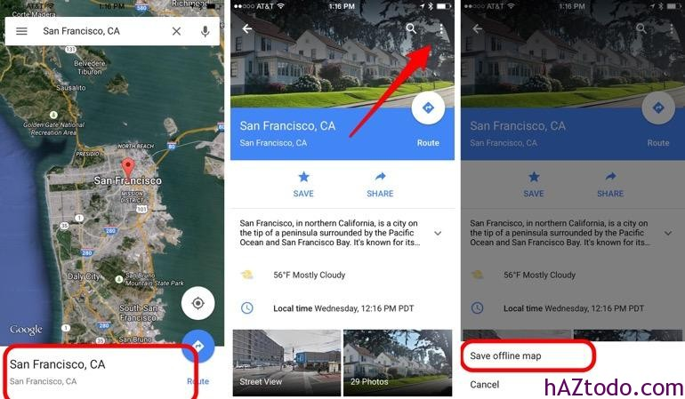 Google Maps sin Internet en Android y iOS