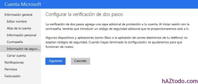 Habilitar verificación de 2 pasos en Microsoft
