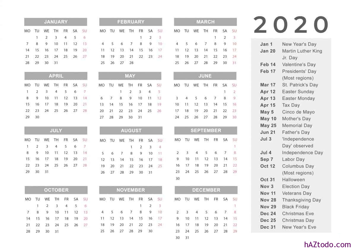 Lista de días festivos federales en Estados Unidos 2020