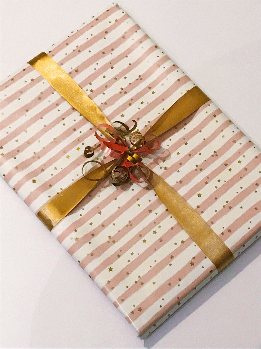 Gold Stars and pink stripes gift wrap