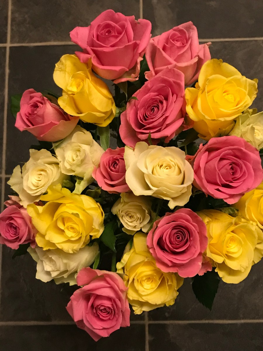 Pink and yellow Birthday roses