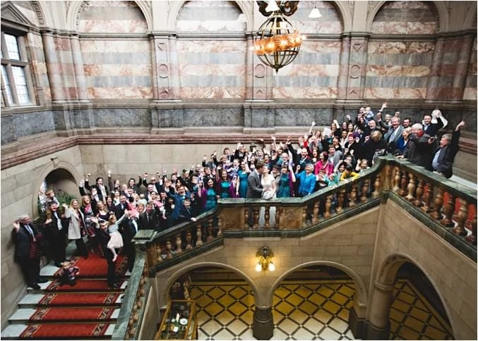Billy  Jennis wedding photos at Sheffield Town Hall  HBA Photography