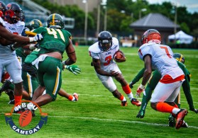 Va State's Cordelral Cook scores his first touchdown. (Photo by Michael Peele.)