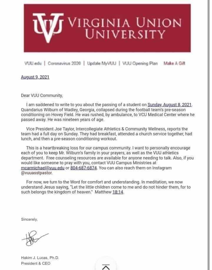 Virginia Union letter