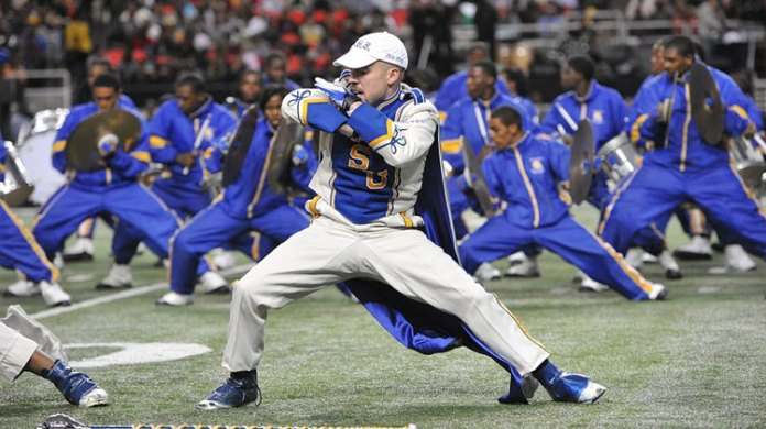 Drum major Thomas Lamb, of Albany State University dances during the Honda Battle of the Bands at the Georgia Dome in 2012.