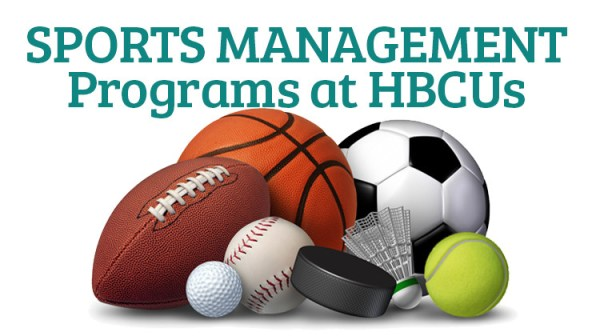 Collection of sports equipment with the words HBCU Sports