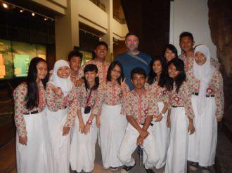 With school kids (Jakarta, 2014)