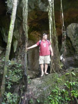 In a cave mouth (North Sumatra, 2009)