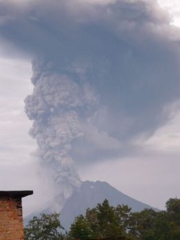Sinabung on morning after first eruption (2010)
