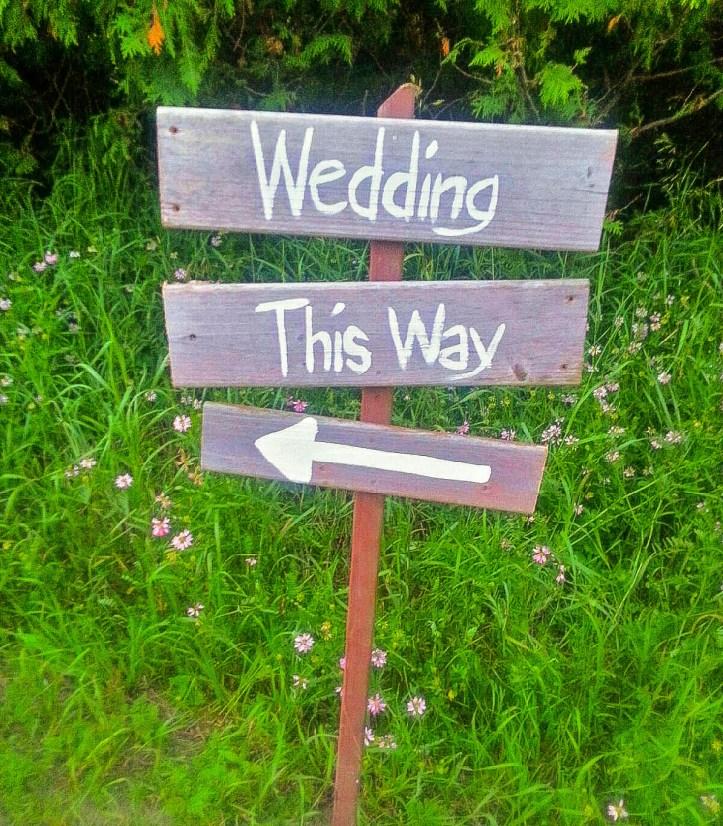 Handwritten wooden wedding sign