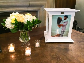 Yellow and white floral bouquet with gift box at Toronto Wedding