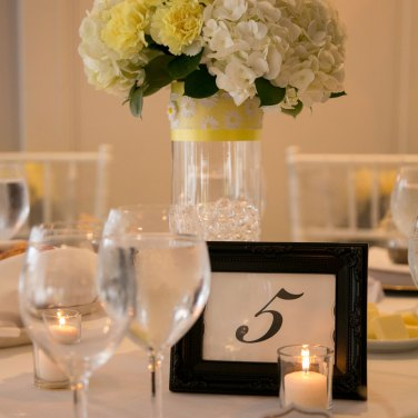 White and Yellow Floral Bouquet Wedding Centerpiece