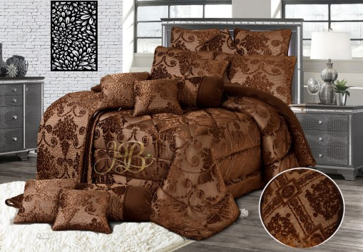 Palachi Velvet Bridal Bed Set 14Pcs Brown