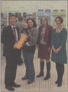 CELEBRATION: (from left) James Williams, from the Beaney, winner Cheryl Doherty and daughter Eleanor, Library manager Barbara Bragg and Director of Canterbury Museums and Galleries Jo Jones