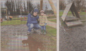 Marcel Roth and two-year-old Hannah Chung-Roth braved the swampy conditions at Toddlers Cove play area