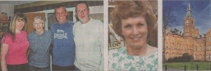 Shirley Price, second left, believes she breathed in asbestos dust while working at Brookwood Hospital in the 1970s