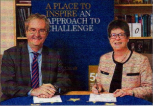 Jonathan Taylor of the European Investment Bank with University of Kent vice-chancellor Professor Dame Julia Goodfellow
