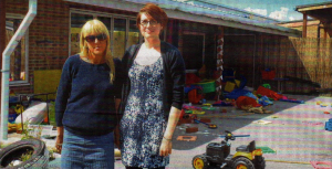 Herne Bay Infant School head teacher Bernadette Lax and reception teacher Jess Blshopp surveying the damage caused by vandals - now the culprits have been back to the school to apologise and make amends