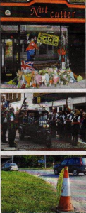 From top: tributes left at the salon, his funeral procession and the scene of the accident