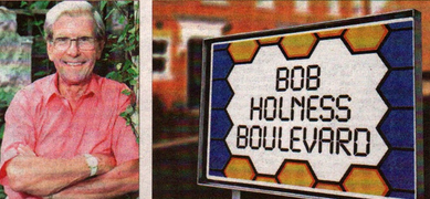 Calls have been repeated to name a street after Bob Holness; right, an idea for the design of the sign