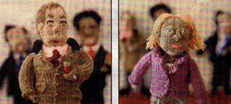 PURLED UP: Pat's knitted Nigel Farage (left) and Natalie Bennett